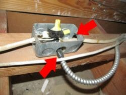 Wire clamp missing at J-box