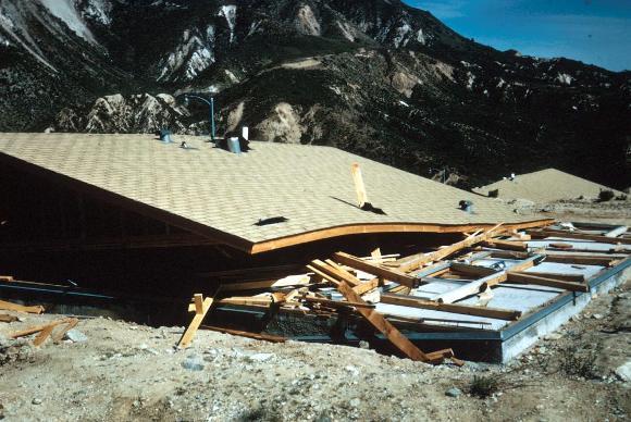 Earthquake house collapse