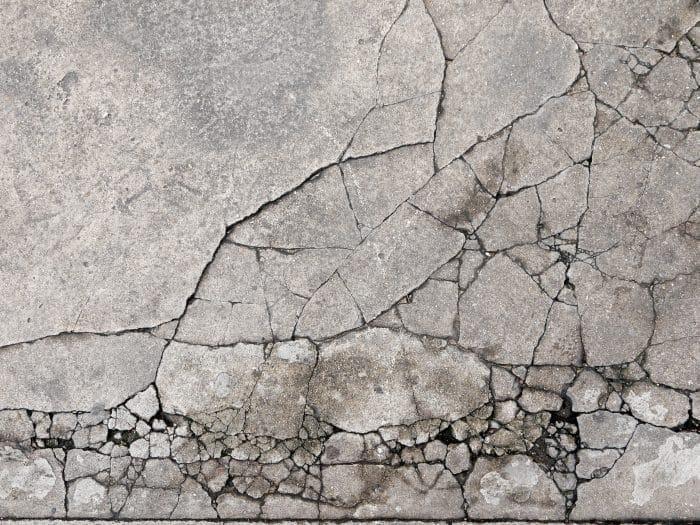 Badly cracked concrete