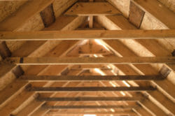 Framing in attic roof area