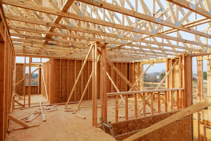 Wood framing in a house