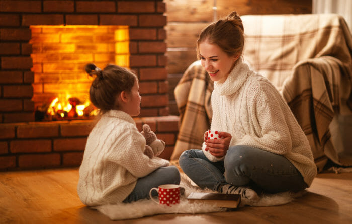 Fireplace child and mother