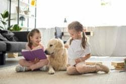 Children with dog