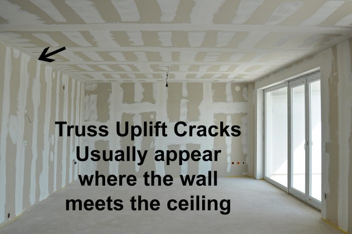 Truss uplift can cause drywall cracks