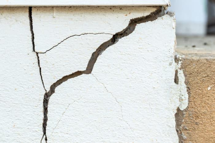 Large crack at corner of wall