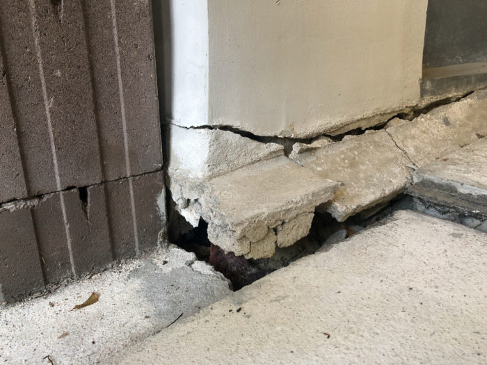 Subsidence causing concrete to sink and crack