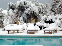 Swimming pool and snow