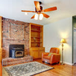 Fan and fireplace