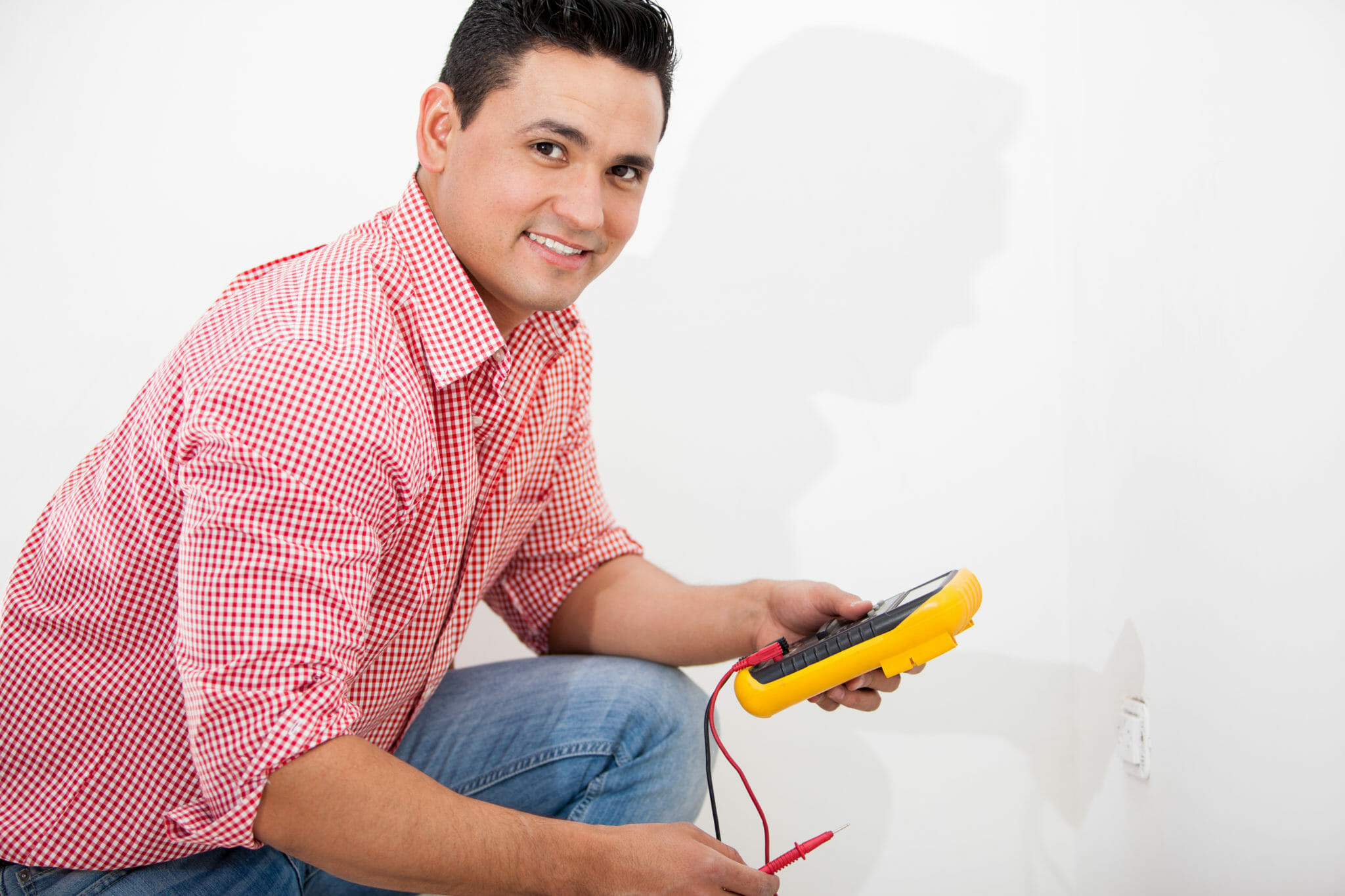 Home Inspector checking for electrical defects
