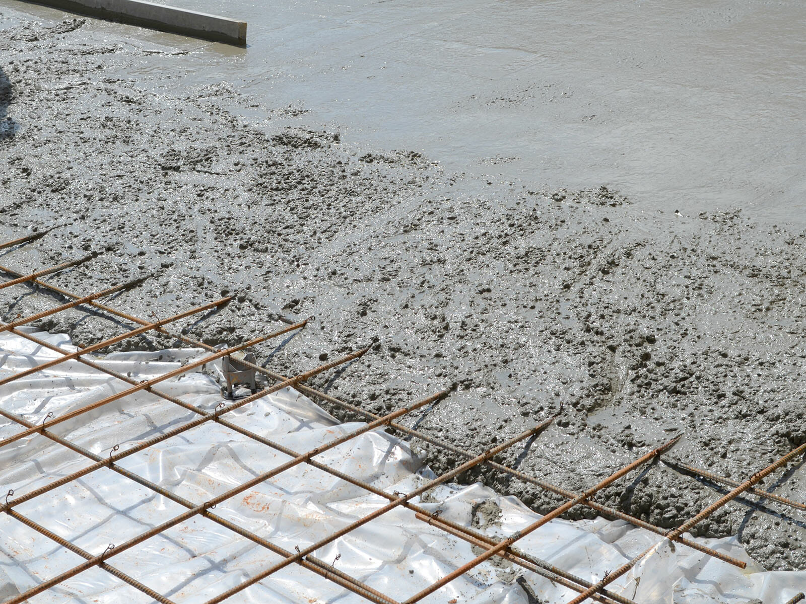 Concrete poured over rebar