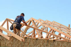 Roof trusses on a house