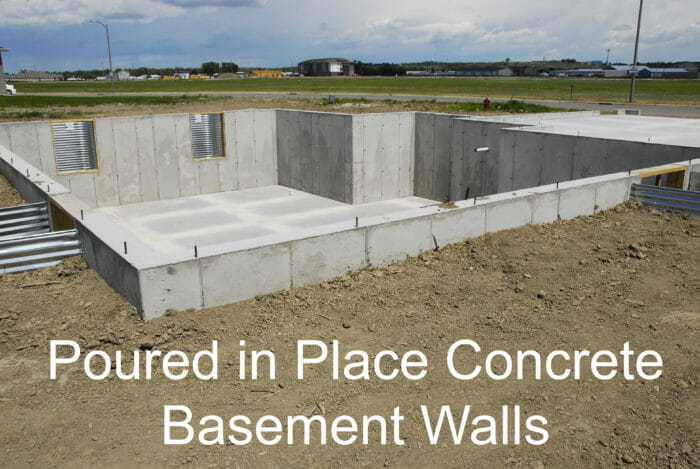 Poured in place concrete basement wall