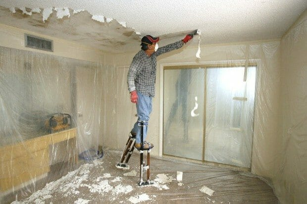 Hoe to remove asbestos Popcorn ceilings.