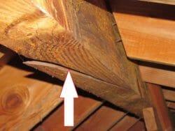 Ridge beam cracked roof