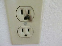Smoke or burn marks on outlet