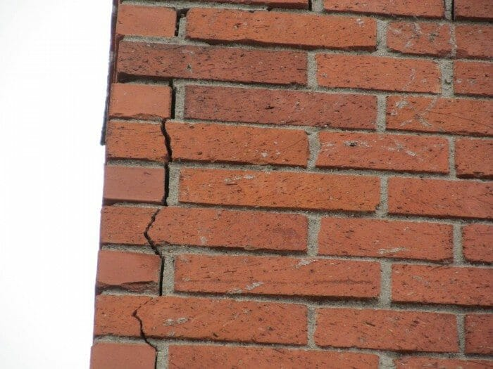 Cracked fireplace chimney