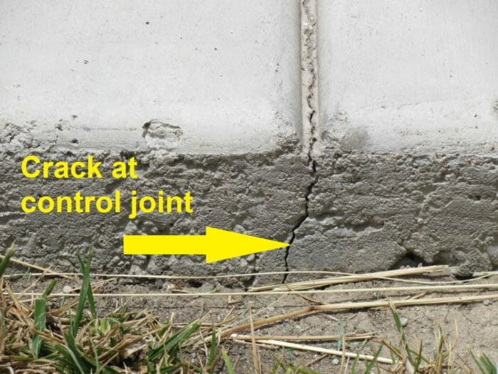 Crack at control joint