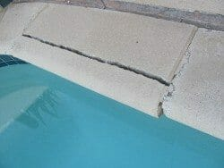 Cracked and damaged pool coping
