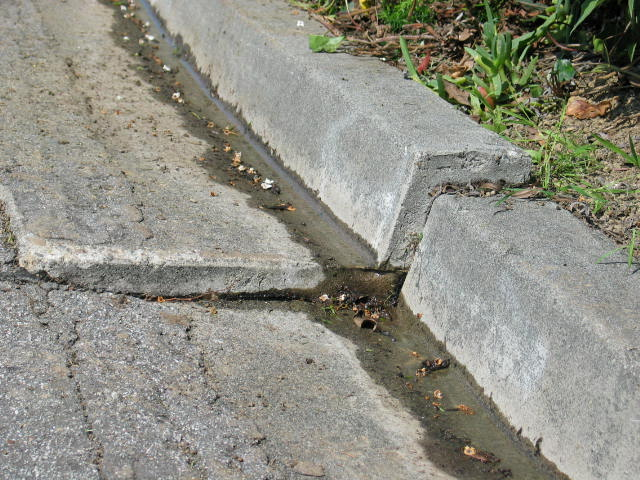 Curb and gutter movement evidence
