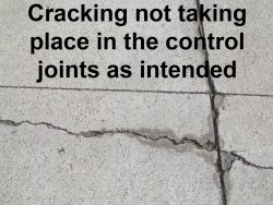 Crack failed to follow control joint as intended