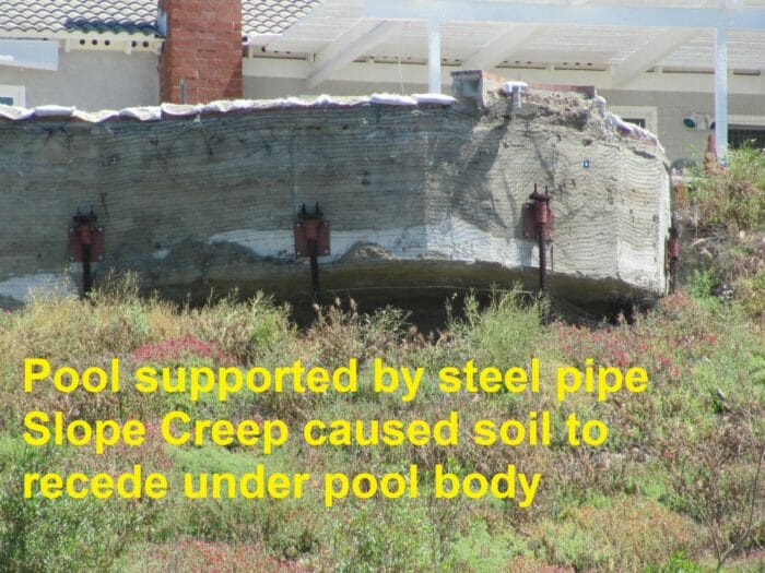 Slope creep under pool