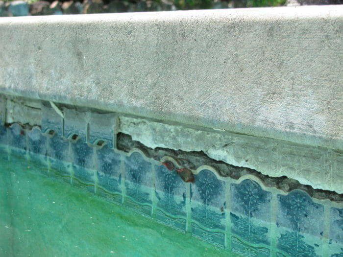 Pool and tile cracks and damage
