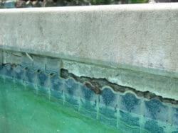 Pool tile crack and damage