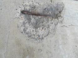 Concrete spalling rebar