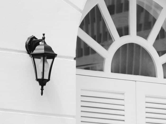 Light fixture on exterior wall