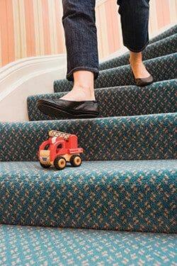 Stair with toy safety hazard