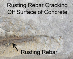 Concrete spalling and rusting rebar