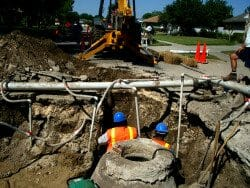 Sewer line in street
