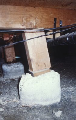 Post in crawl space leaning
