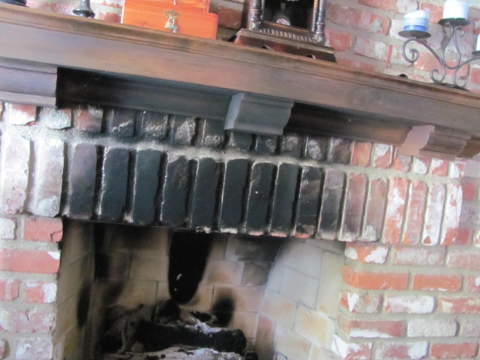 Smoke stains on fireplace