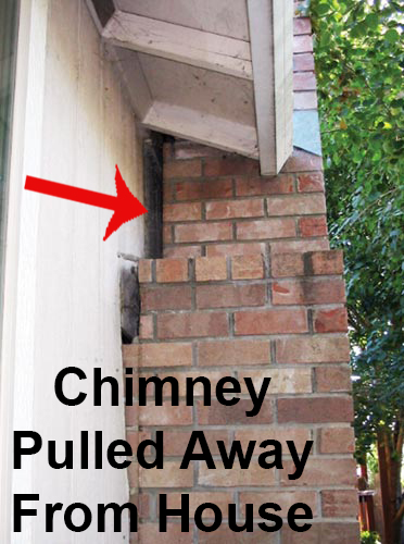 Fireplace brick chimney pulling away from wall