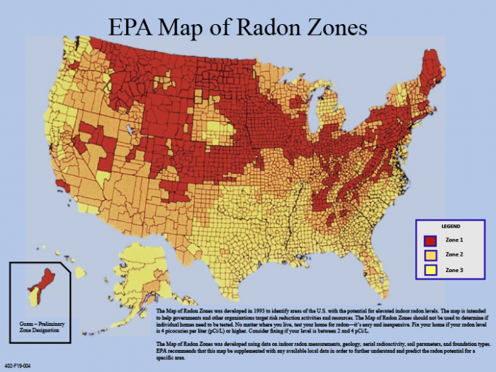 Map of Radon levels in the United States